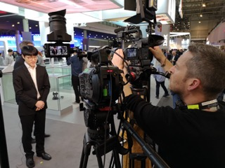 cameraman shooting interview at MobileWorldCongress