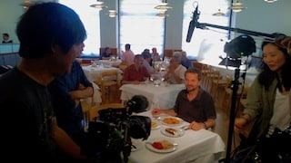 filming interview with scientist for food documentary in Madrid