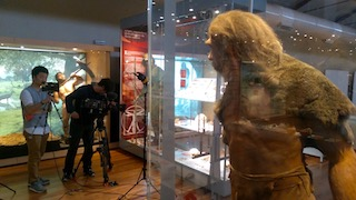 film crew in the spanish national museum of natural science in Madrid