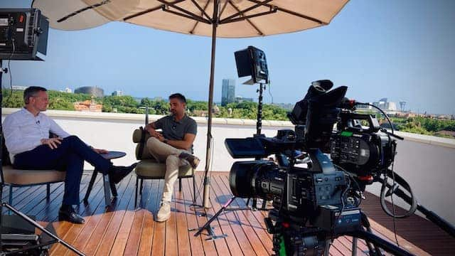 interview filming on roof top terrace in Barcelona