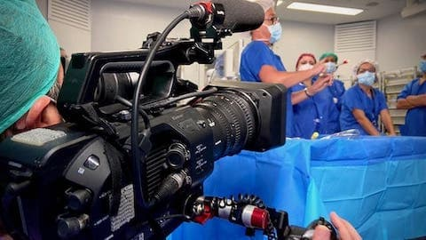 cameraman filming in spanish hospital