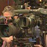 cameramen at the press conference before the Champions League final Inter Milan vs. Bayern Munich in Madrid