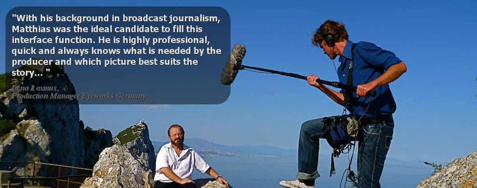 ENG-crew shooting interview on the rock of Gibraltar