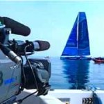 filming from a boat the arrival of team virbac at Barcelona World Race