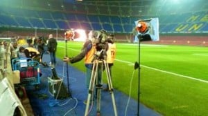 bilingual cameraman Champions League football match, Spain