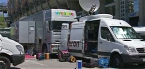 DSNG uplink trucks at Bernabeu Football Stadium, Madrid